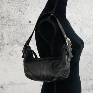 COACH Mini Leather Handbag Black